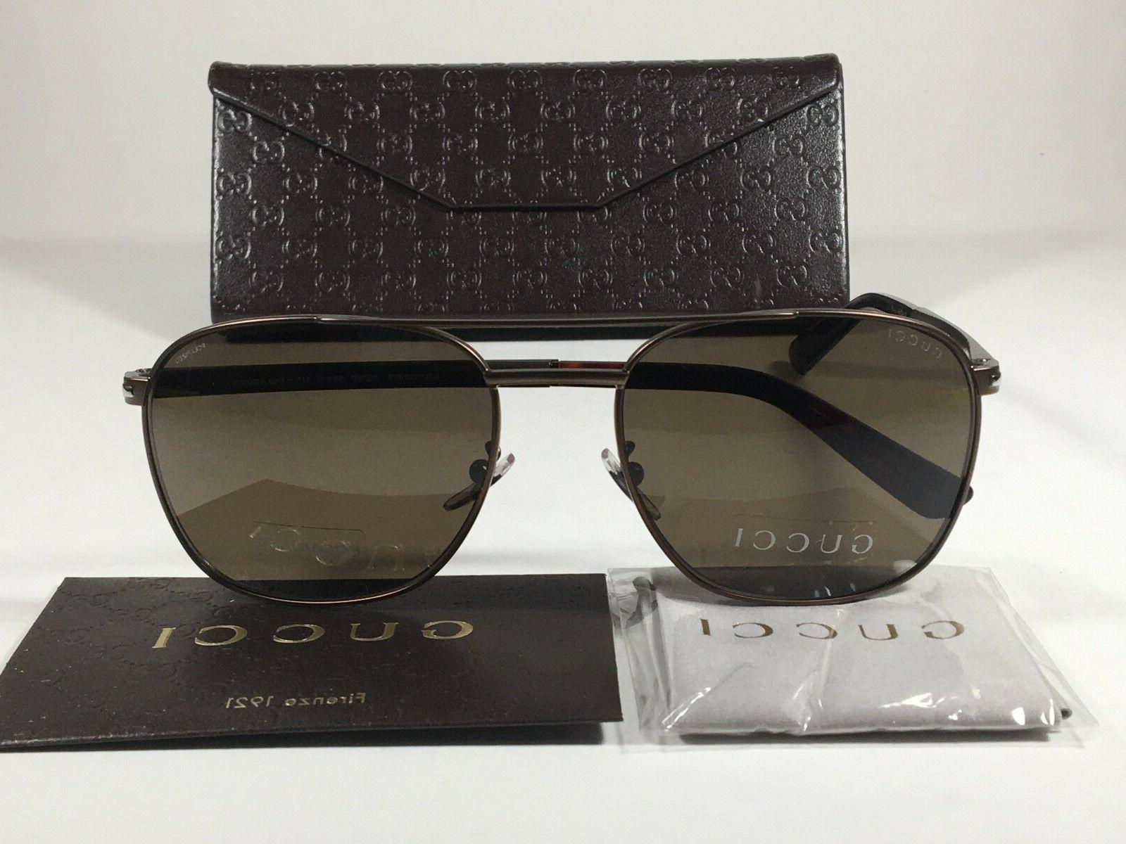 New Authentic Gucci Polarized Aviator Pilot Sunglasses Matte