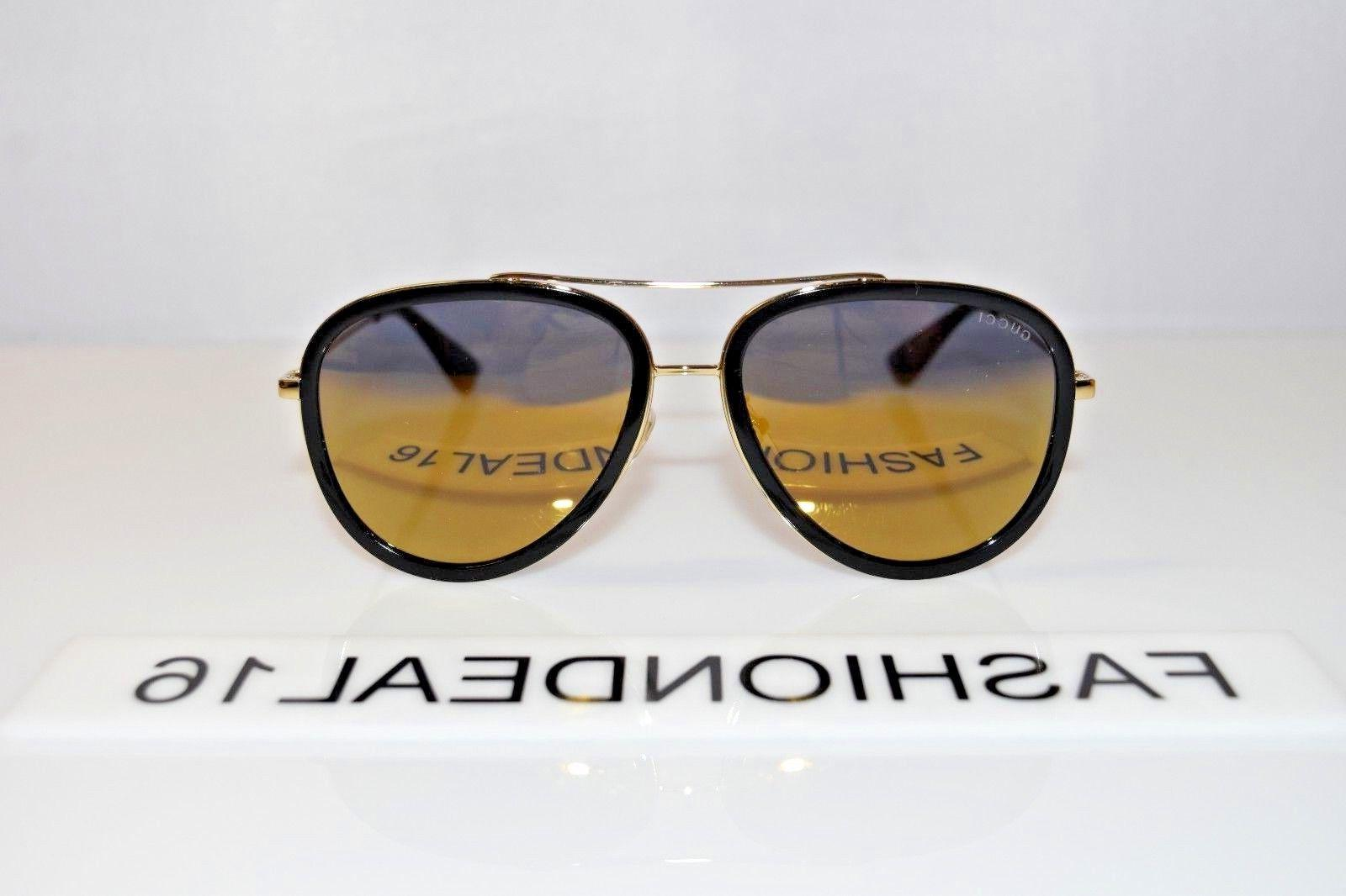 2a6cc852a8e New GUCCI Aviator Gold Black Mirrored GG0062S 001 Aviator 57