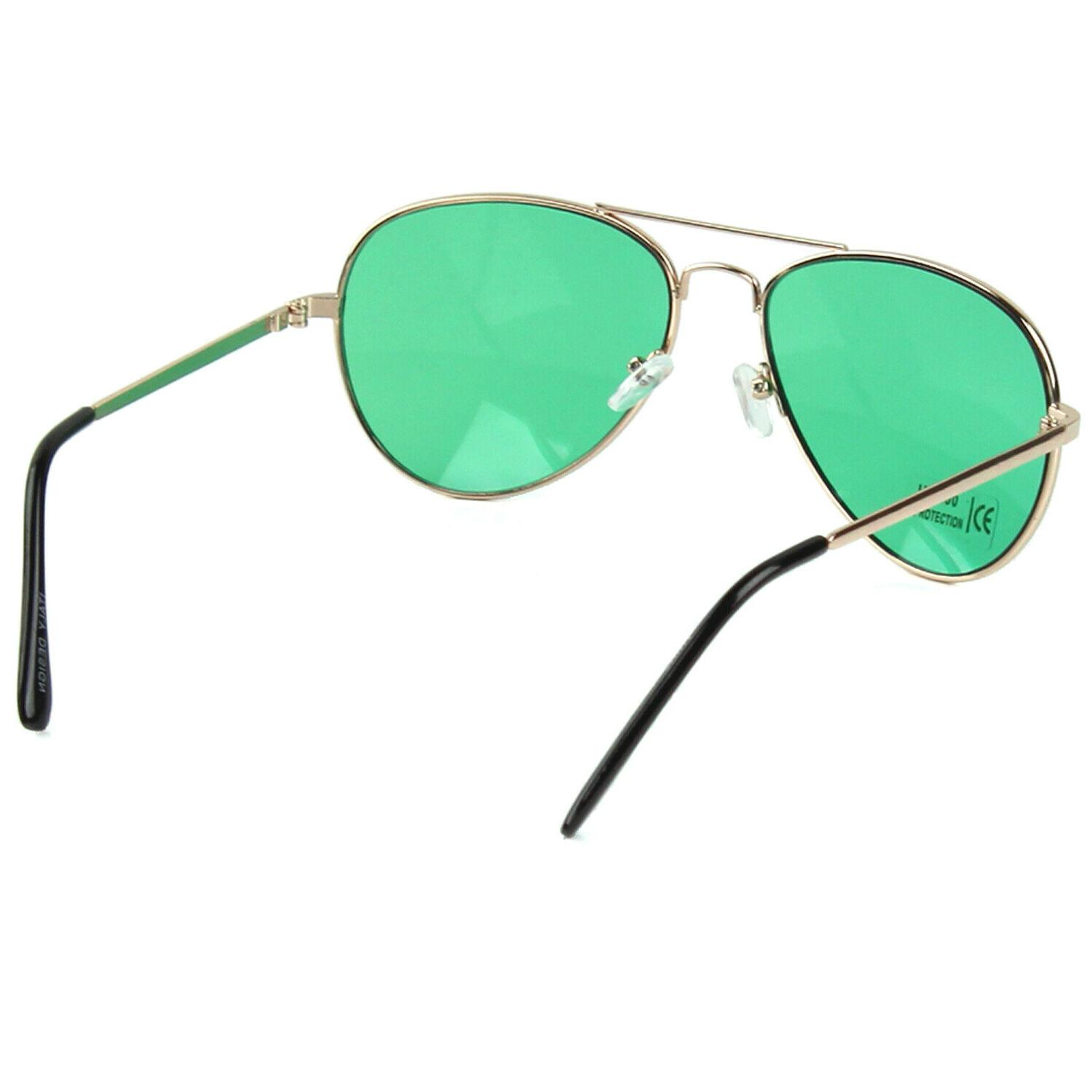New Mens Sunglasses Metal Frame Gold Green Retro Pilot