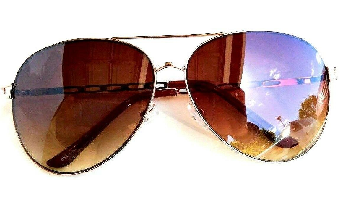 new aviator sunglasses gold plaid metal flame