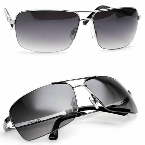Classic Retro Fashion Metal Aviator Vintage Designer Mens Sunglasses Black White