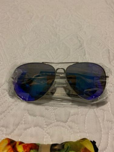 SilverMetal Blue Mirrored Aviator No