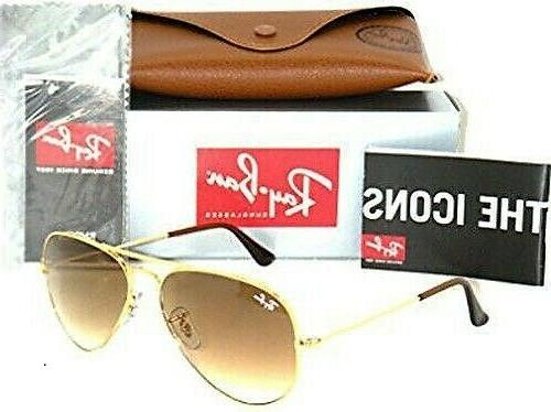 NEW Men Women Ray-Ban Sunglasses Aviator RB3025 Gold Brown G
