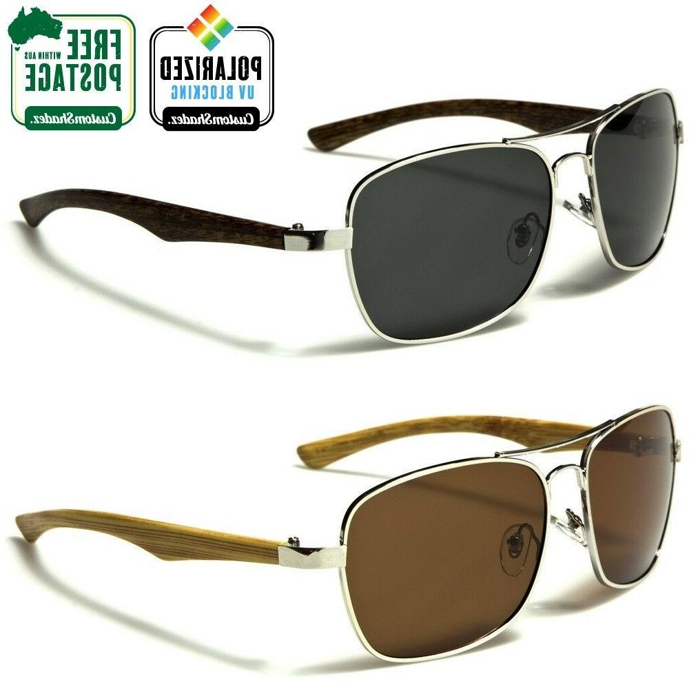 New Polarised Sunglasses - Aviator Style Frame / Woodgrain P
