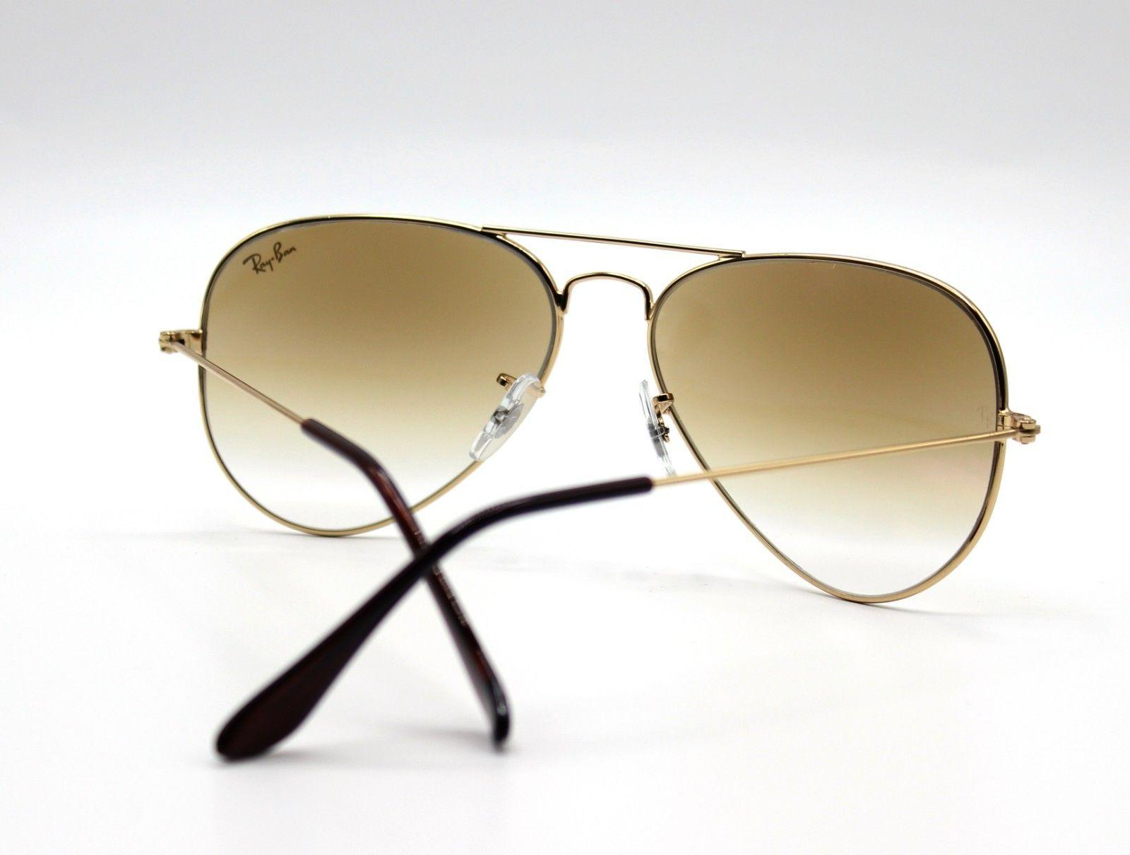 New Ray-Ban Gold/Brown 62