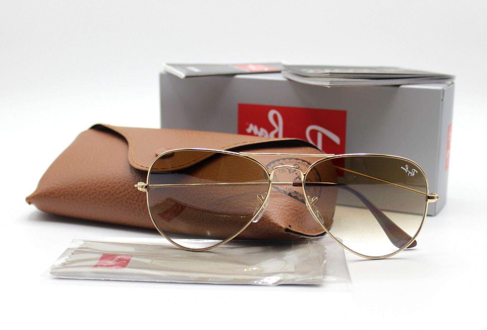 New Ray Ban Rb3025 001 51 Gold Brown Gradient Aviator Sunglasses 62 Mm Large