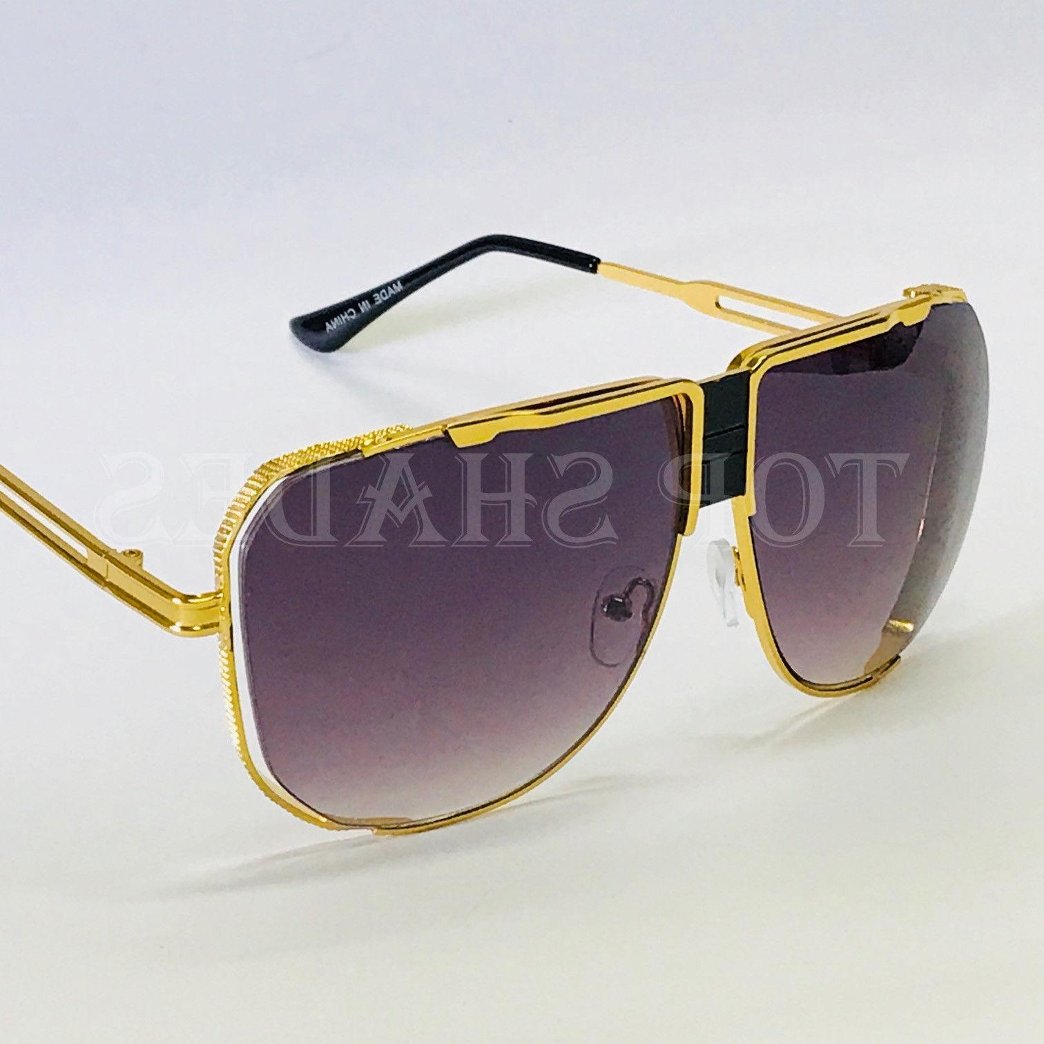 Oversized Square Sunglasses Metal Frame
