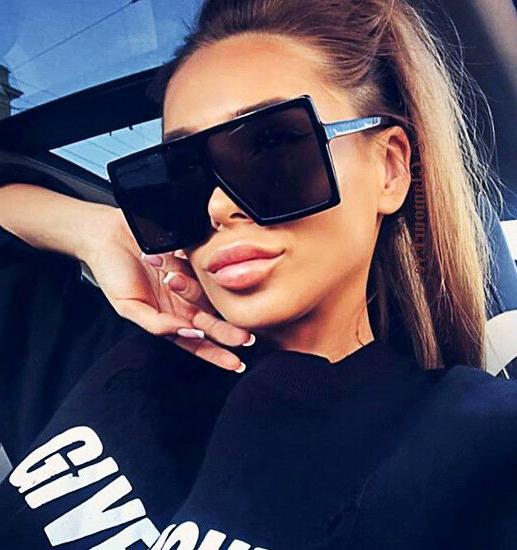 Oversized BETTY Square Flat Top Aviator XXL HUGE Fashion Lau