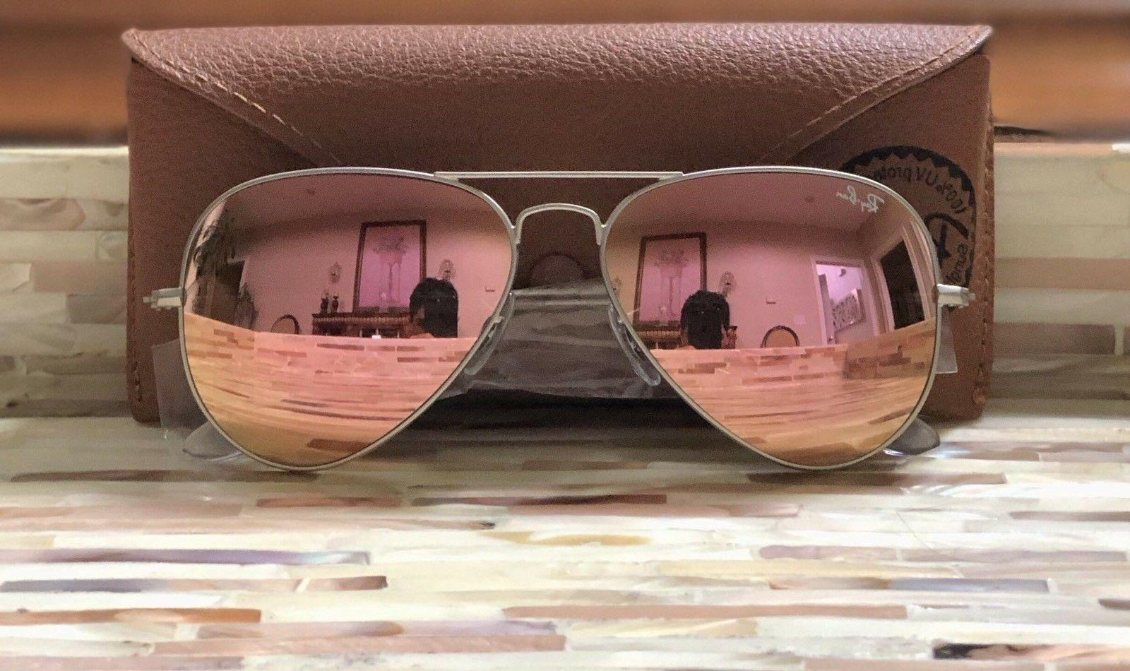 Ray-Ban Aviator Sunglasses RB3025 019/Z2 Silver Pink 58mm!!