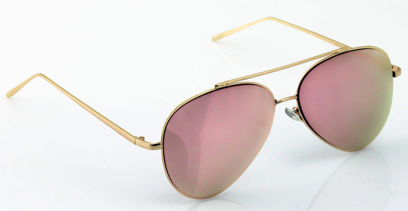 Rose Aviator Mirrored Oversized Glasses New