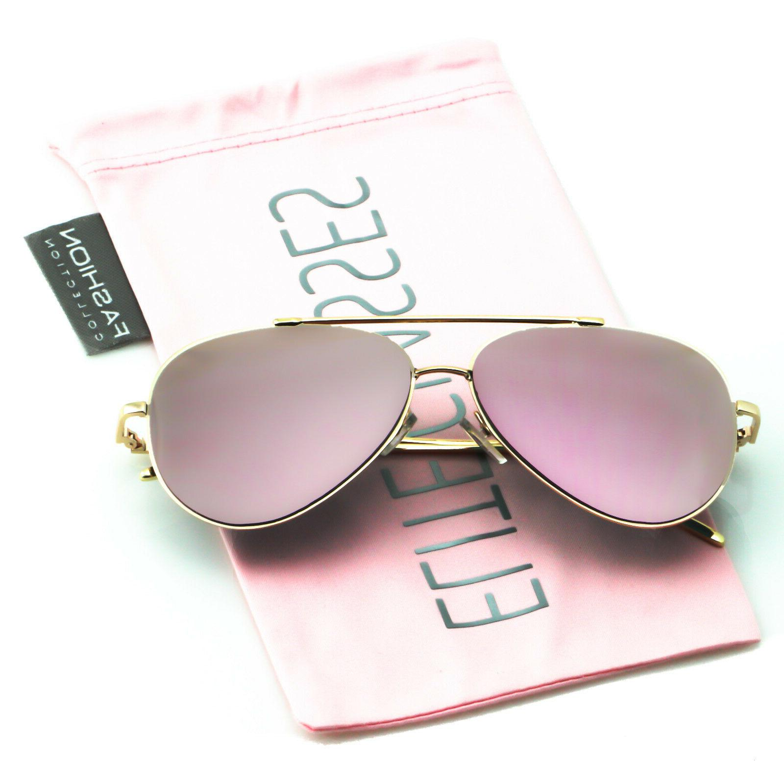 rose gold women sunglasses mirrored metal oversized