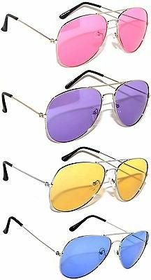SET OF 4 COLORED LENS AVIATOR STYLE METAL SUNGLASSES BLUE PI