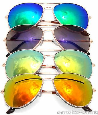 SET OF 4  METAL FRAME MIRROR COLORED LENS AVIATOR STYLE SUNG