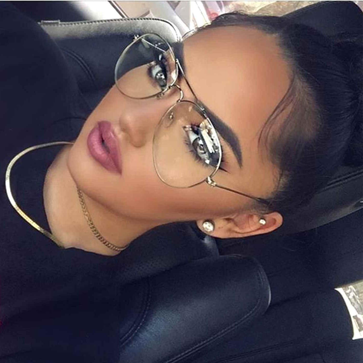 Silver Frame Retro Style Classic Aviator Eyeglasses Clear Le