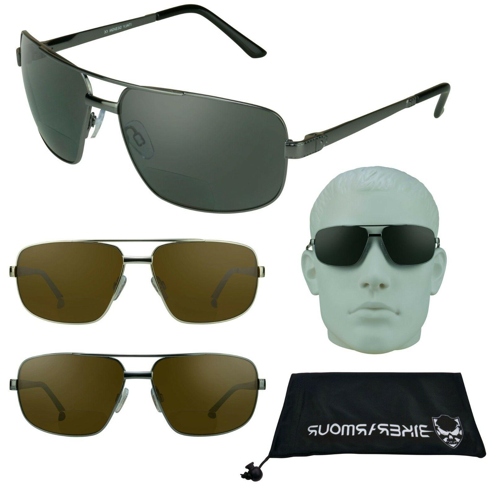 Square Aviator POLARIZED BIFOCAL Reading Sunglasses Sun Read
