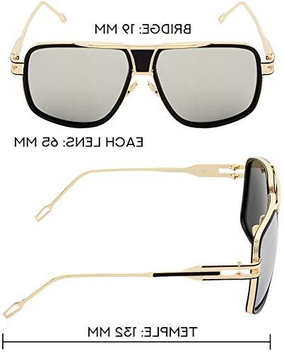 Square Sunglasses Gold Black Gold Nose Pads with Silver Lens