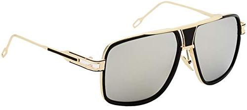 square sunglasses gold and black frame gold