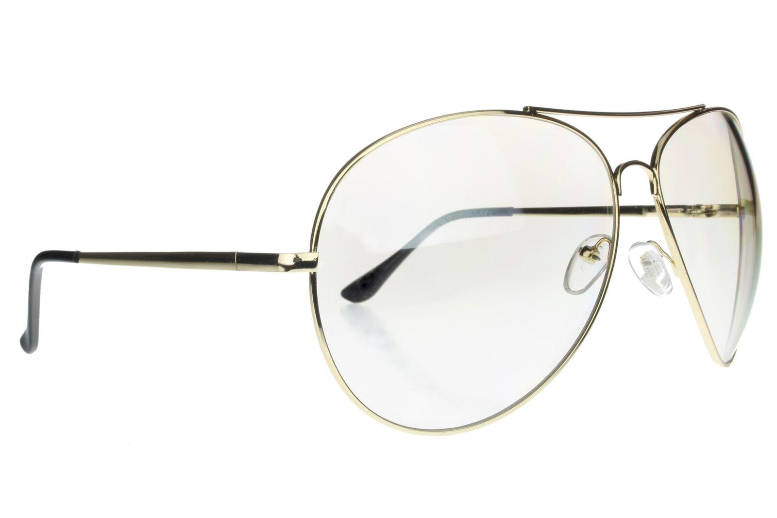 Aviator Extra Wide Frame Gold Frame Clear Mirror Lens