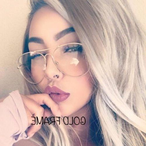 UNISEX Clear Lens Aviator Fashion Gold Glasses  Sunglasses R