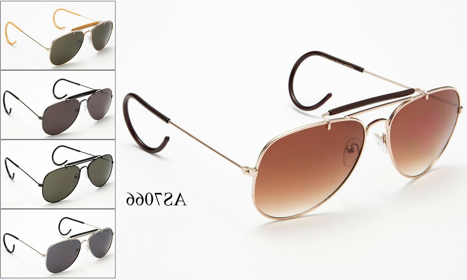 vintage metal aviator sunglasses cable temple brow