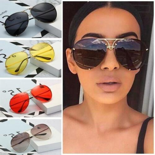 Women Oversized Aviator Cat Eye Sunglasses Flat Top Big Larg
