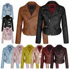 Women's Faux Leather Zip Up Everyday Bomber Jacket With Patc