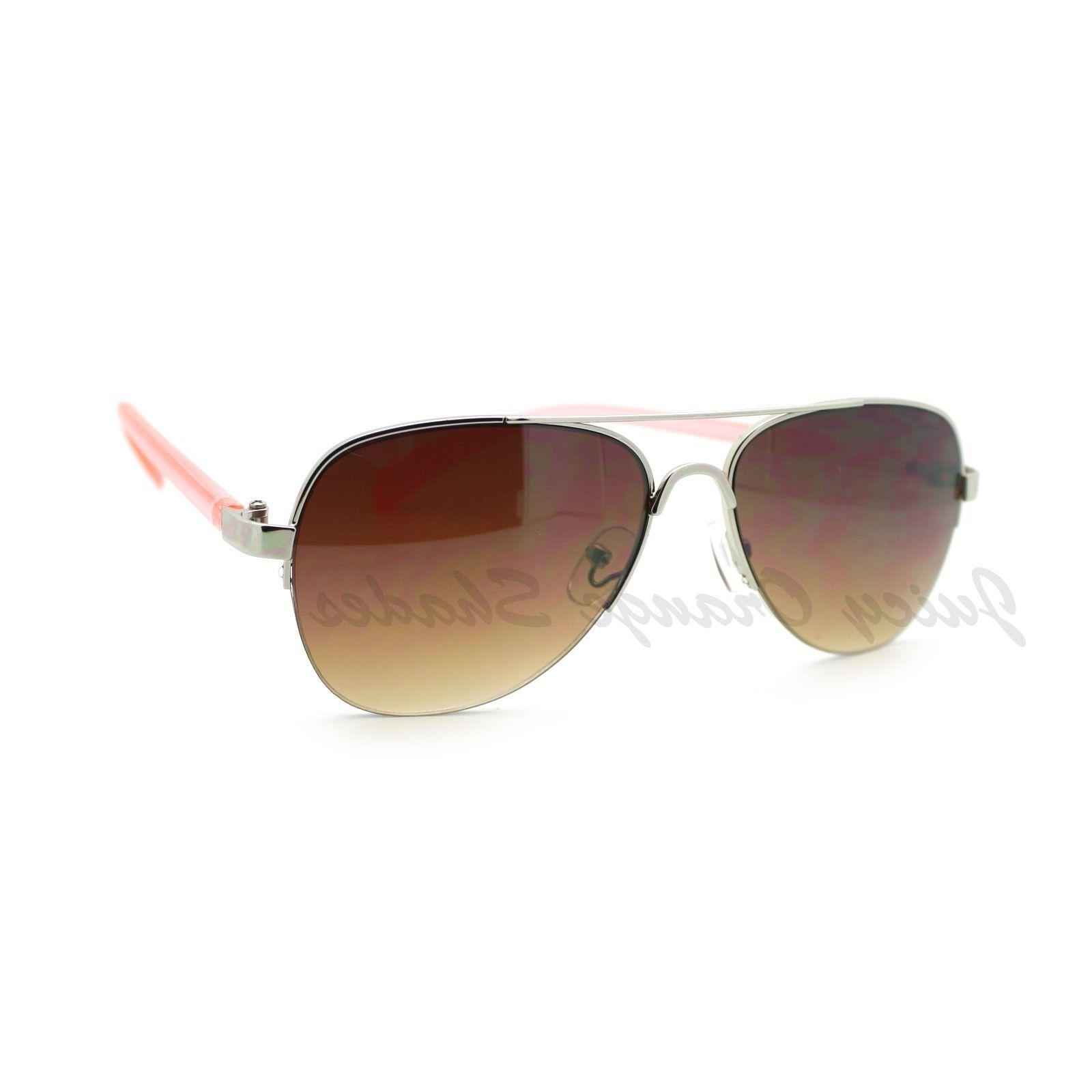 Women's Small Size Aviator Sunglasses Petite Half Rim Aviato