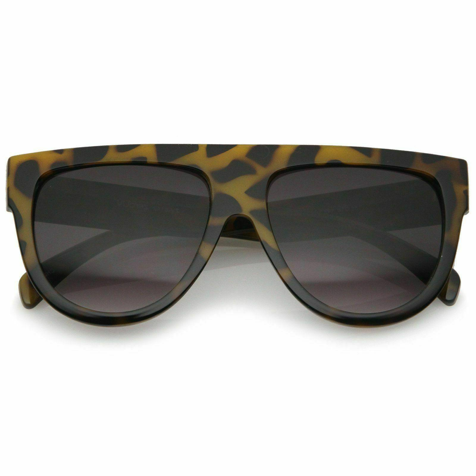 zeroUV Large Oversize Temple Flat Aviator Sunglasses, Yellow Tortoise