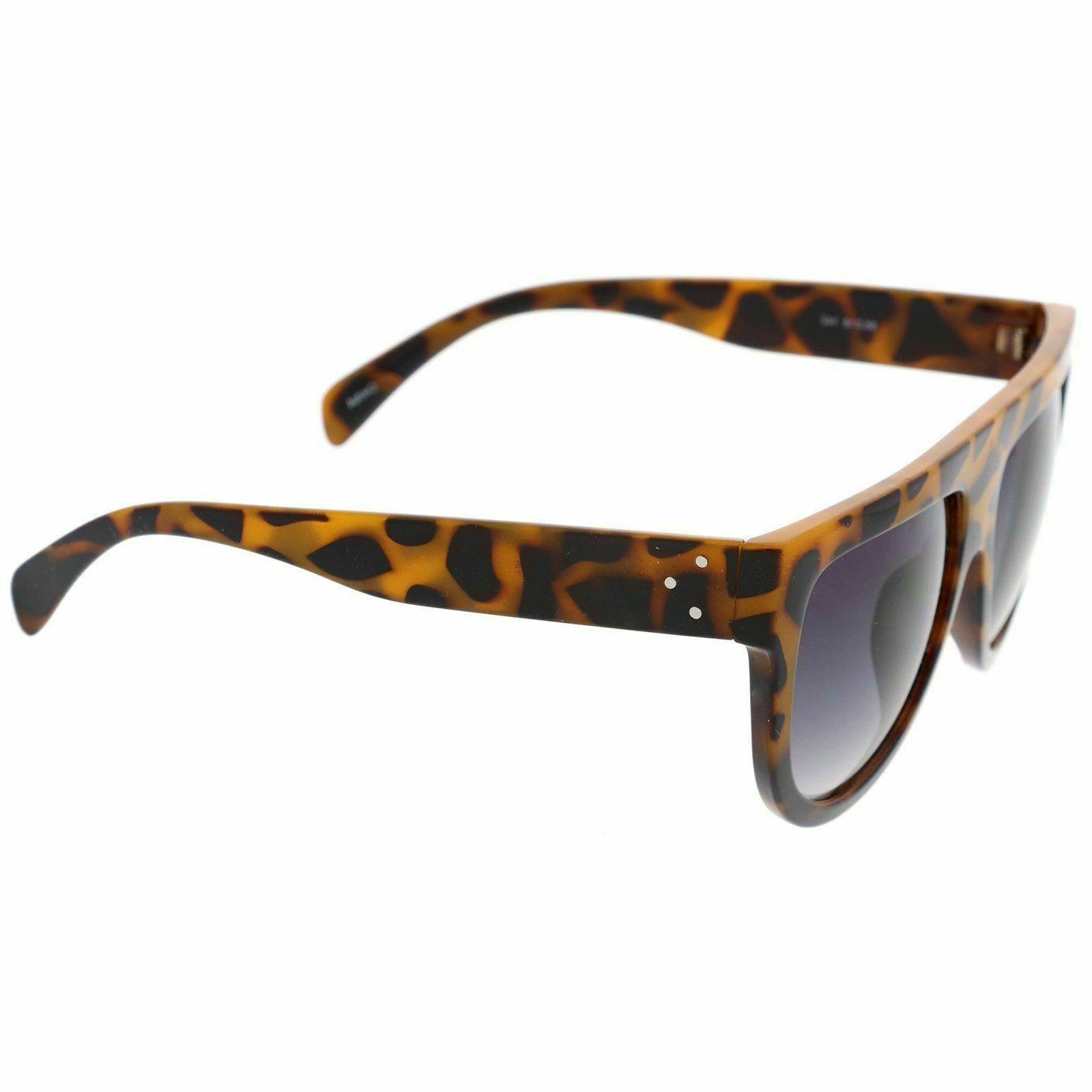 zeroUV Temple Flat Aviator Sunglasses, Yellow Tortoise