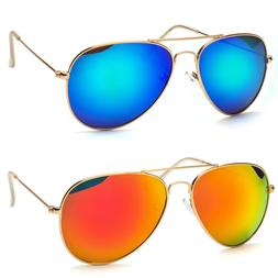 Large Aviator Sunglasses Gold Silver Frame Dark Mirror Color