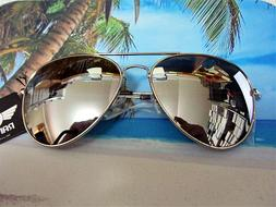 Large Aviator Sunglasses Silver Mirror Lens Men's Women's Vi