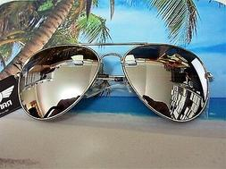 LARGE  AVIATOR SUNGLASSES WITH SILVER MIRROR LENS SILVER FRA