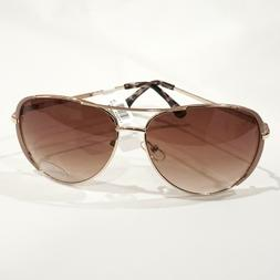LOFT Women's Gold Tone Metal Gradient Brown UV400 Aviator Su