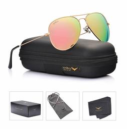 LUENX Aviator Womens Mens Sunglasses Polarized Pink Mirrored