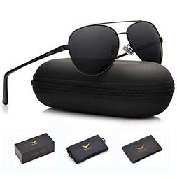 LUENX Men Women Aviator Sunglasses Polarized Non-Mirror Blac