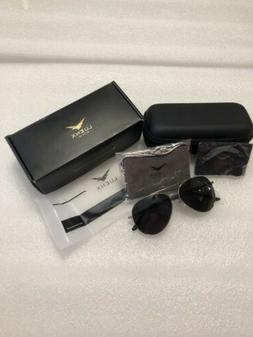 LUENX Sunglasses On My Way Unisex Lens Black Aviator w/Case