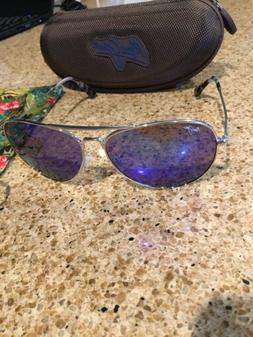 MAUI JIM MAVERICKS B264-17 SILVER BLUE HAWAII POLARIZED AVIA