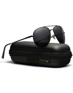 LUENX Men Aviator Sunglasses Polarized Model 1614 Black.