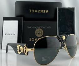 d875bda93aa9 Versace VE2150Q Aviator Sunglasses 1002 87 Gold Frame Gray L