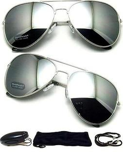 MEN Sunglasses Aviator Style Silver Frame with Dark Mirror L