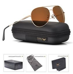 LUENX Men Women Aviator Sunglasses Polarized Brown Lens Meta