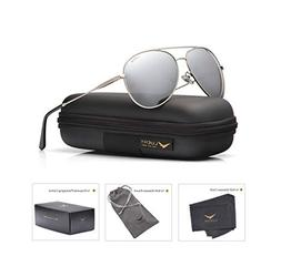 LUENX Men Women Aviator Sunglasses Polarized Mirrored Silver