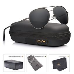 LUENX Men Women Aviator Sunglasses Polarized Non-Mirrored Gr