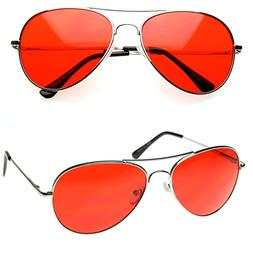 MENS Retro Classic Metal Aviator Red Lens Tint Aviator Sungl