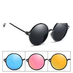 B dressy sportinggoods Mens Round Polarized Circle Sunglasse