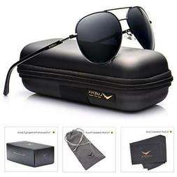 Mens Sunglasses Aviator Polarized Black: Luenx Sun Glasses D