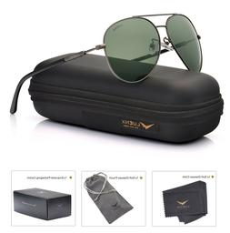 LUENX Mens Womens Sunglasses Aviator Polarized Dark Green Le