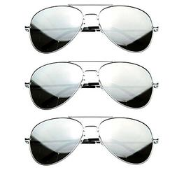 MJ Eyewear Silver Mirror Lens Aviator Sunglasses - pack of 3