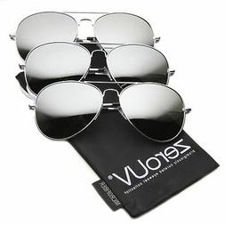 Premium Mirrored Aviator Top Gun Sunglasses w/ Spring Loaded