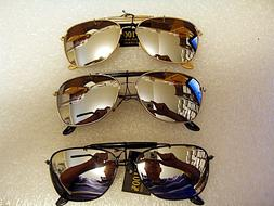 MIRRORED AVIATOR SUNGLASSES WITH BROW BAR SILVER , BLACK OR